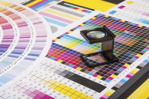 Magnifier over test print papers